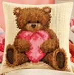 Cross Stitch Popcorn the Bear Cushion