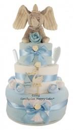 THREE TIER BABY BOY DUMBO ELEPHANT NAPPY CAKE GIFT