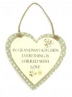 Sentiments Heart Hanging Plaques Grandmas Kitchen