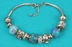 Silver-Blue Beaded Bracelet