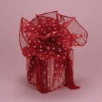 Polka Dot Organza Fabric Wraps Red