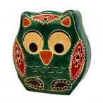 Handmade Leather Money Boxes- Small Green Owl