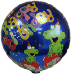 Happy Birthday Foil Balloon-Frog Includes Straw Holder
