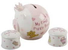 My First Piggy Bank with 1st Curl  1st Tooth Set in Pink