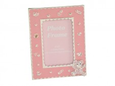 Silver Plate Pink Bear Photo Frame 4x6