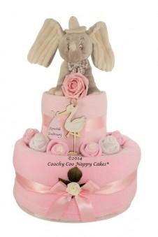 TWO TIER BABY GIRL DUMBO NAPPY CAKE GIFT