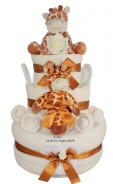 DELUXE 3 TIER GIRAFFE NAPPY UNISEX CAKE