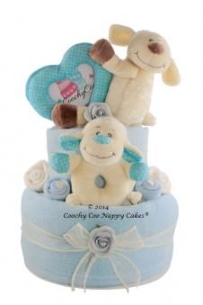 BABY BOY BLUE LAMB NAPPY CAKE