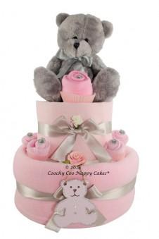 Baby Girl Silver Teddy Bear Nappy Cake