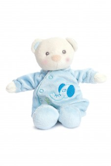 Snuggles teddy Blue in an adorable sleepsuit