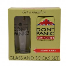 Dads Army Dont Panic Glass and Socks Gift Set