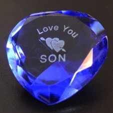 Love You Son and Heart Blue Heart Crystal
