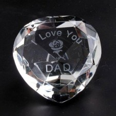 I Love You Dad and Rose Clear Crystal Heart