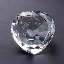 Best Friend Clear Crystal Heart