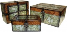 Keepsake Box  Large Walnut Floral Set of 3
