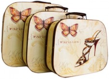 Nostalgic Suitcases Butterfly Set of 3