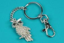 Diamante and Rhodium Owl Keyring