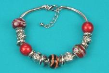 Silver-Red Beaded Bracelet