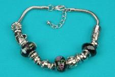 Silver-Black Beaded Bracelet