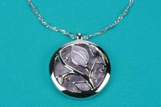 Silver-Lilac Round Pendant