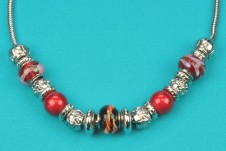 Silver-Red  Beaded Necklace