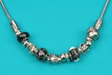 Silver-Black Beaded Necklace