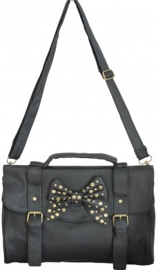 Designer fashion satchel with studded bow in Black