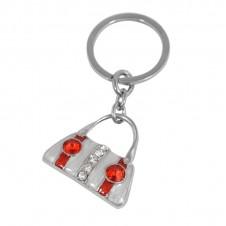 Diamante Keyrings - Pearl and Red Handbag