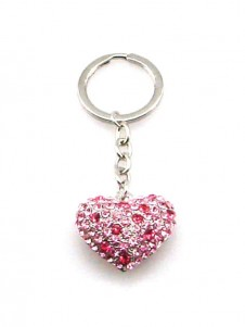 Diamante Hart Keyring in Pink