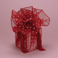 Polka Dot Organza Fabric Wraps Red
