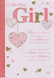 Birth of Baby Girl Large Cards