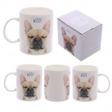 Fun New Bone China Mug - WOOF French Bulldog Design