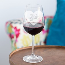 PERSONALISED HEART WINE GLASS