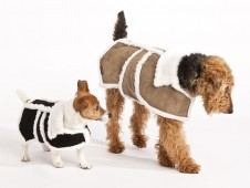 Luxury Sherpa Suede Leather Dog Coat - Black or Tan