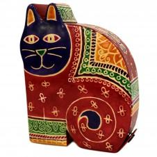 Leather Money Box - Lrg Red Cat