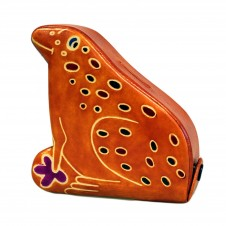 Handmade Leather Money Box - Small Brown Frog