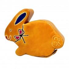 Handmade Leather Money Box - Small Yellow Bunny