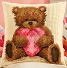 Cross Stitch Popcorn the Bear Cushion