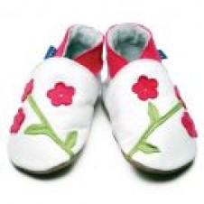 Oriental Blossom White First Baby Shoe