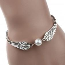 Silver Infinity Pearl Angel Wings Bracelet