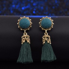 Round Crystal Silk Long Tassel Earrings
