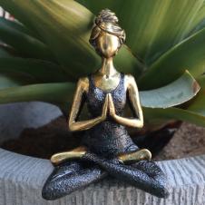 Yoga Lady Figure - Bronze and Black 24cm