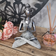 Yoga Lady Figures  Silver and White 24cm
