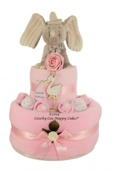 TWO TIER BABY GIRL DUMBO NAPPY CAKE GIFT