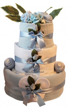 BABY BOYS CLOTHING THREE TIER NAPPY CAKE GIFT