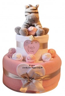 TWO TIER PINK BABY GIRLS ZEBRA NAPPY CAKE GIFT