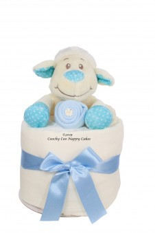 LITTLE LAMB BABY BOY MINI NAPPY CAKE
