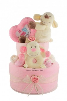 BABY GIRL PINK LAMB NAPPY CAKE