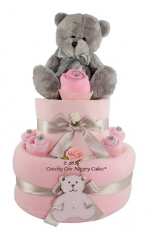 Baby Girl Silver Teddy Bear Nappy Cake