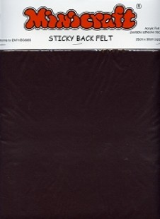 Dark Brown Sticky Back Felt 23x30cm